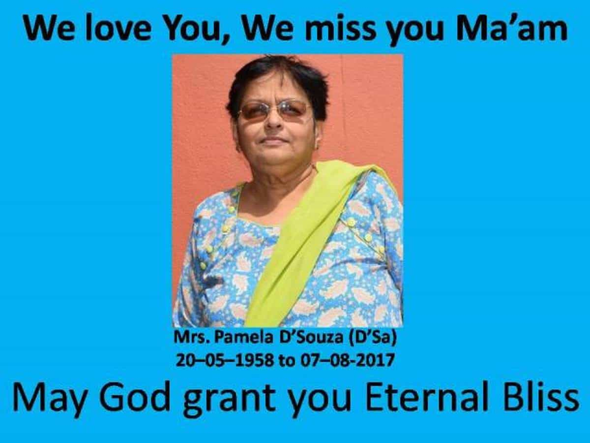 Homage to Mrs. Pamela D'Souza (nee D'Sa) on her demise